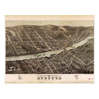 オーガスタメイン(1878年)の鳥瞰的な眺め はがき