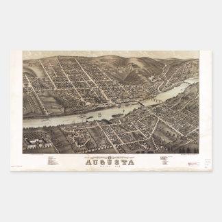 オーガスタメイン(1878年)の鳥瞰的な眺め 長方形シール