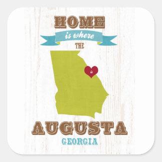 オーガスタ、ジョージアの地図-ハートがあるところでがあります家 スクエアシール