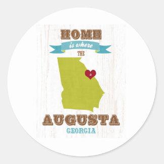 オーガスタ、ジョージアの地図-ハートがあるところでがあります家 ラウンドシール