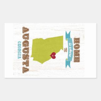 オーガスタ、ジョージアの地図-ハートがあるところでがあります家 長方形シール