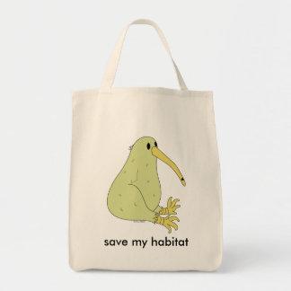 オーガニックなキーウィの鳥の買い物袋 トートバッグ
