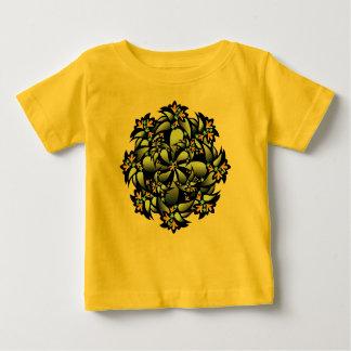 オーガニックなベビーの用品類、かわいい花、黄色いブルーグレー ベビーTシャツ