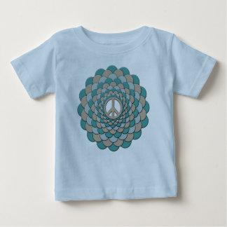 オーガニックなベビーの用品類、平和花、青いタン ベビーTシャツ