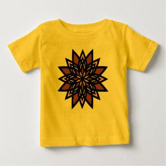 オーガニックなベビーの用品類、星の花、タンのイエロー・ゴールド ベビーTシャツ