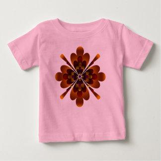 オーガニックなベビーの用品類、禅の花、オレンジ赤の黄色 ベビーTシャツ