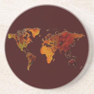 オーガニックな世界地図の風雅な地球のギフトのコースター コースター