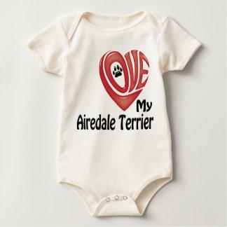 オーガニックな幼児クリーパー: 私のAiredaleテリアを愛して下さい ベビーボディスーツ