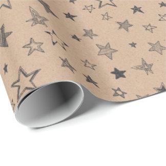 オーガニックな生きている星のブラウンの技術の紙のギフト用包装紙2 ラッピングペーパー