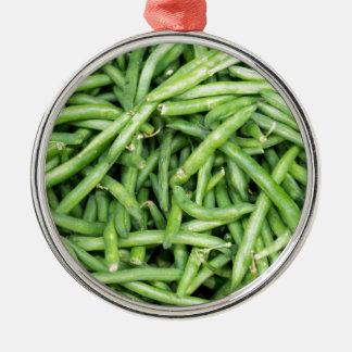 オーガニックな緑のサヤインゲンの野菜Vegitarian メタルオーナメント