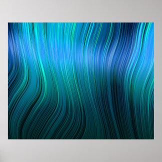 オーガニックな芸術の溶解したプラスチック柔らかい繊維の青の色相 ポスター