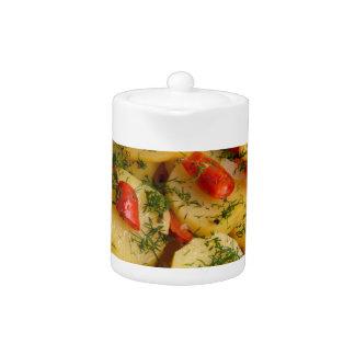 オーガニックの菜食主義皿の平面図