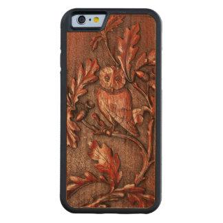 オークの木の木製の電話箱のフクロウ CarvedチェリーiPhone 6バンパーケース