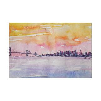 オークランド橋との湾区域のスカイラインサンフランシスコ キャンバスプリント