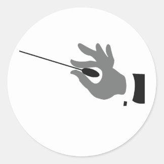 オーケストラの指揮者のステッカー ラウンドシール