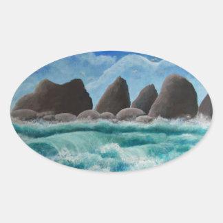 オーシャンサイドのビーチ 楕円形シール