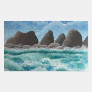 オーシャンサイドのビーチ 長方形シール