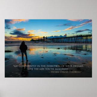 オーシャンサイドのThoreauの引用文の感動的な日没 ポスター