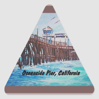 オーシャンサイド桟橋の絵画のステッカー 三角形シール