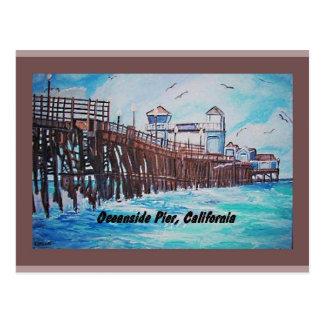 オーシャンサイド桟橋の絵画の郵便はがき ポストカード