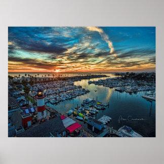オーシャンサイド港の日没 ポスター