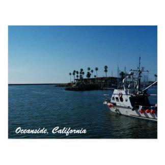 オーシャンサイド、カリフォルニア郵便はがきのボート ポストカード