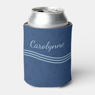 オーシャンブルーのシンプルな波のモノグラム 缶クーラー