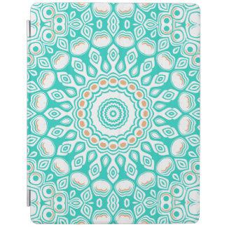 オーシャンブルーのターコイズの円形浮彫り iPadスマートカバー