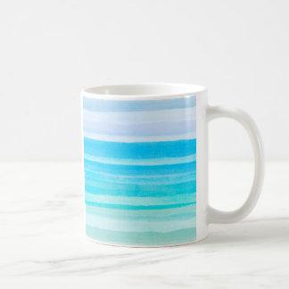 オーシャンブルーのティール(緑がかった色)の水彩画のグラデーションなストライプ コーヒーマグカップ