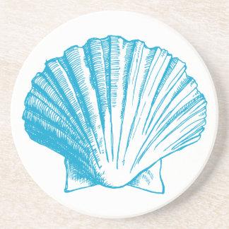 オーシャンブルーの貝殻のコースター コースター