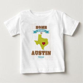 オースティンのテキサス州の地図-ハートがあるところでがあります家 ベビーTシャツ