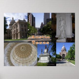 オースティンのテキサス州州の国会議事堂の建物 ポスター