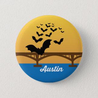オースティンテキサス州の世界的に有名なこうもり橋ボタン 缶バッジ