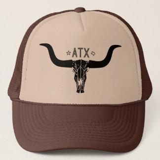 オースティンテキサス州の長い角のスカルのトラック運転手の帽子 キャップ
