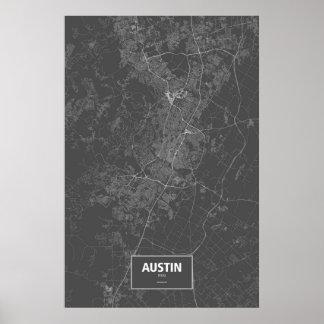 オースティン、テキサス州(黒で白い) ポスター