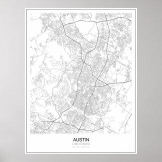 オースティン、米国の最小主義の地図ポスター ポスター