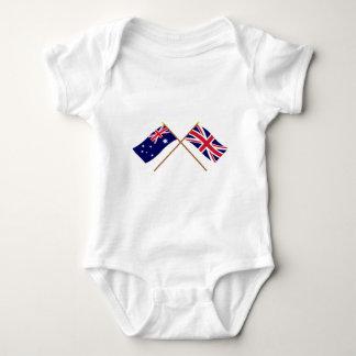 オーストラリアおよびイギリスによって交差させる旗 ベビーボディスーツ