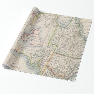 オーストラリアおよびイギリス諸島のサイズの比較の地図 ラッピングペーパー