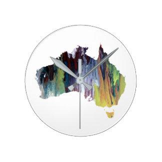 オーストラリアのカラフルなシルエット ラウンド壁時計