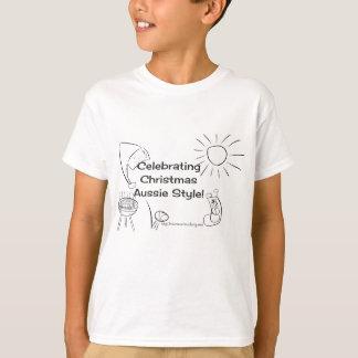 オーストラリアのスタイルのクリスマスのワイシャツの黒を祝うこと Tシャツ
