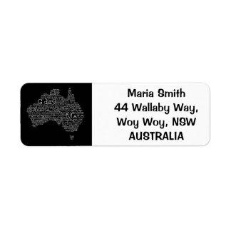 オーストラリアの俗語の地図 ラベル