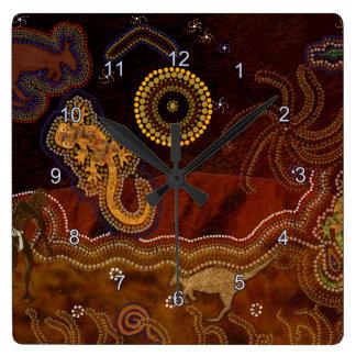 オーストラリアの土人Dreamtime及び動物 スクエア壁時計