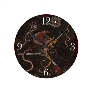 オーストラリアの土人Dreamtime及び動物 ラウンド壁時計