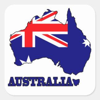 オーストラリアの地図の旗 スクエアシール