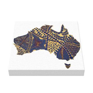 オーストラリアの地図の落書きのタンの赤い青 キャンバスプリント