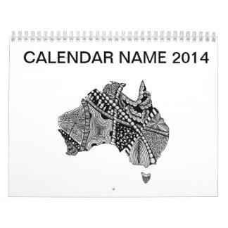 オーストラリアの地図の落書き カレンダー