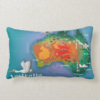 オーストラリアの地図旅行ポスター ランバークッション