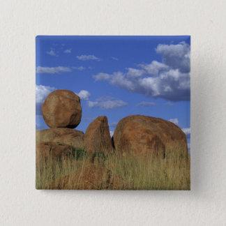 オーストラリアの悪魔の大理石。 球形の砂岩 5.1CM 正方形バッジ