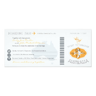 オーストラリアの搭乗券の結婚式招待状 カード