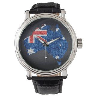 オーストラリアの旗および地図 腕時計